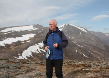 Fred at The Devil's Point, Cairn Toul beyond